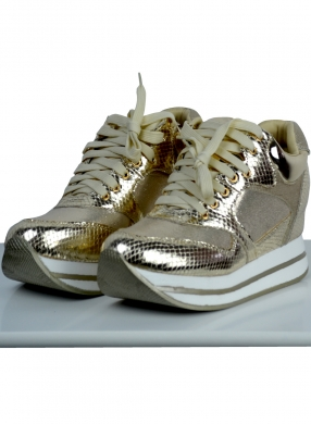 Woman's high heeled sneaker with metallic details