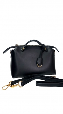 Black Leather Bag with Handle Begie