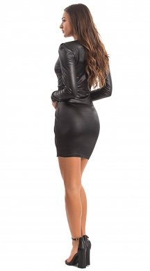 Mini Leatherlook Dress with Knot ONLINE
