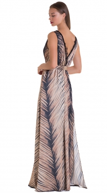 Maxi dress with V neck and waist tie SONIA
