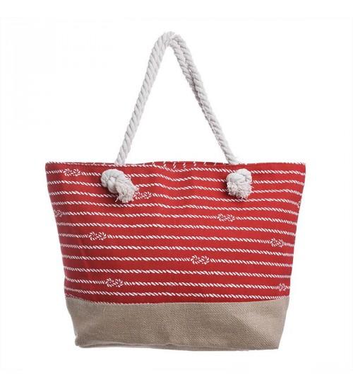 """Τσάντα Θαλάσσης Υφασμάτινη """"Κόκκινη με Ρίγες"""" 50x15x35εκ. ble 5-42-151-0028 - bl swim  τσάντες θαλάσσης"""