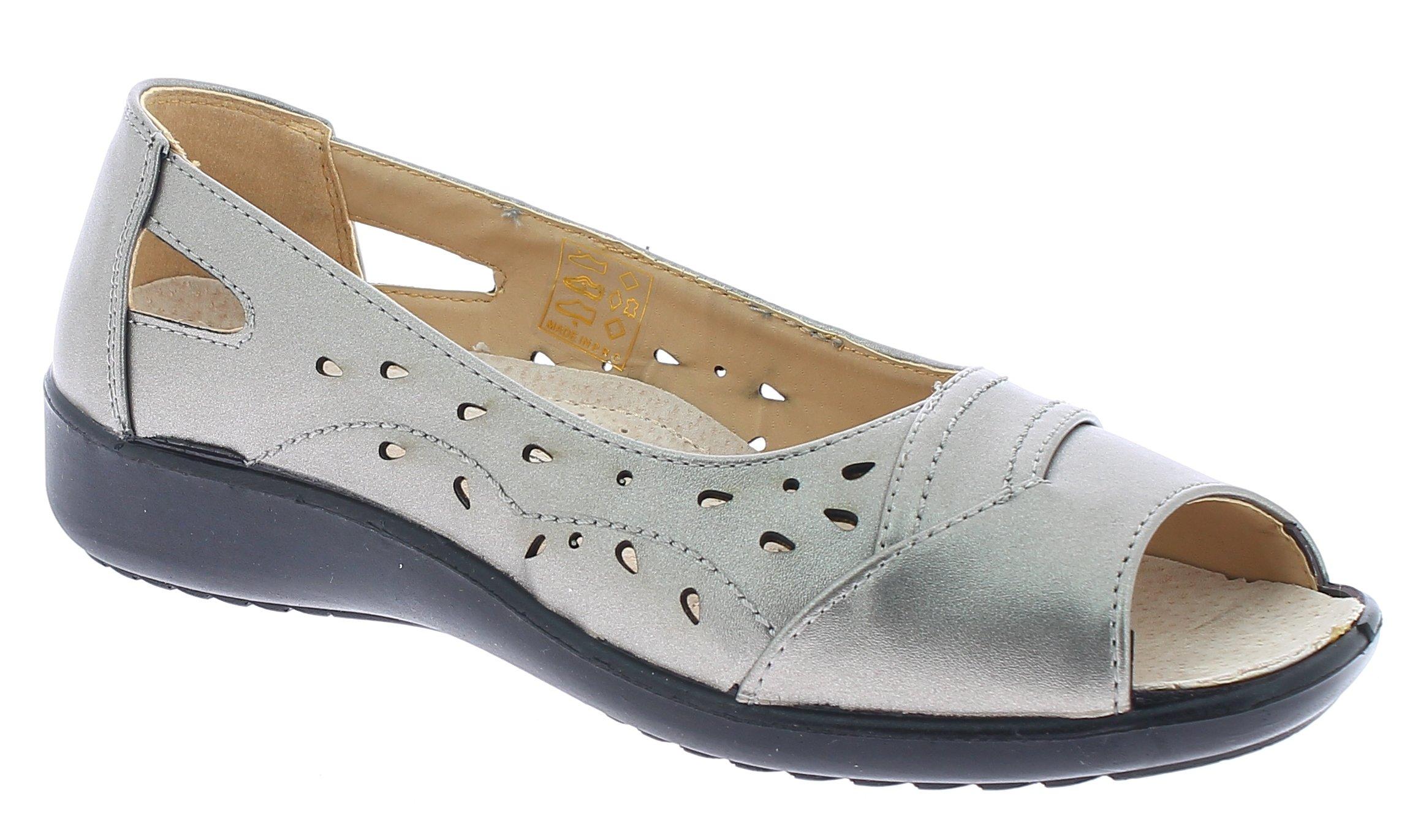 ANTRIN Γυναικείο Comfort MEGAN-105 Ασημί - IqShoes - MEGAN-105 PEWTER-silver-36/ παπούτσια  πέδιλα