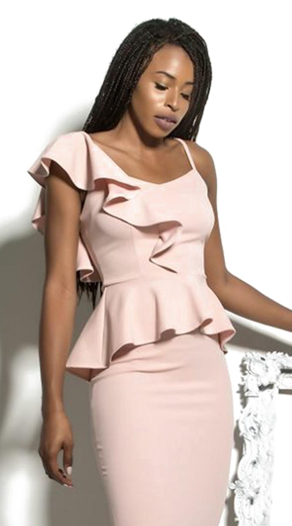 Γυναικεία elegant μπλούζα με βολάν στον ώμο - LOVE ME - FA17LV-40481 μπλούζες   t shirts elegant tops