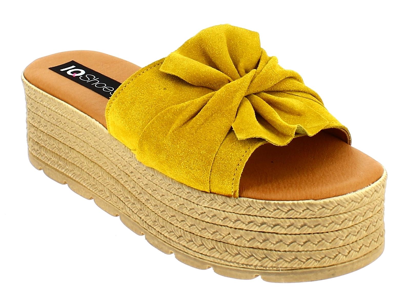 IQSHOES Γυναικείο Flatform 77.653 Κίτρινο - IqShoes - 77.653 YELLOW-IQSHOES-yell παπούτσια  γυναικεία σανδάλια   πέδιλα