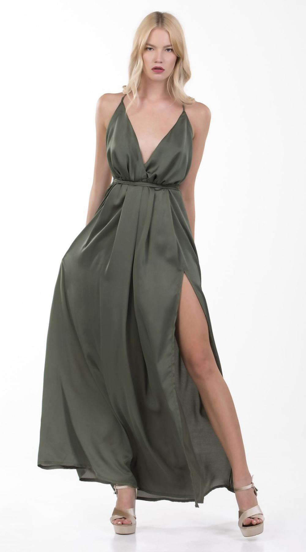 5a405f1eb798 Μάξι Σατινέ Φόρεμα Online - MissReina - S17ON-5094578