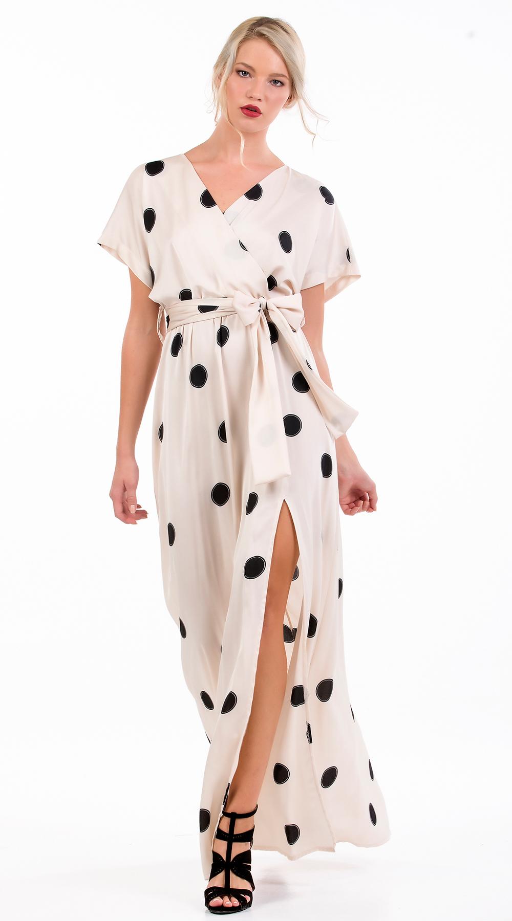 Μάξι Φόρεμα Online Πουά με σκίσιμο - OEM - FA17-51826006 f37041f5a27