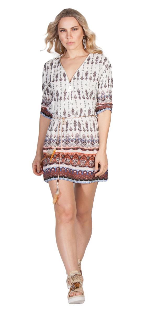 Boho Μίνι φόρεμα με λαχούρια - OEM - S16EVB-D6611-11  gift for you