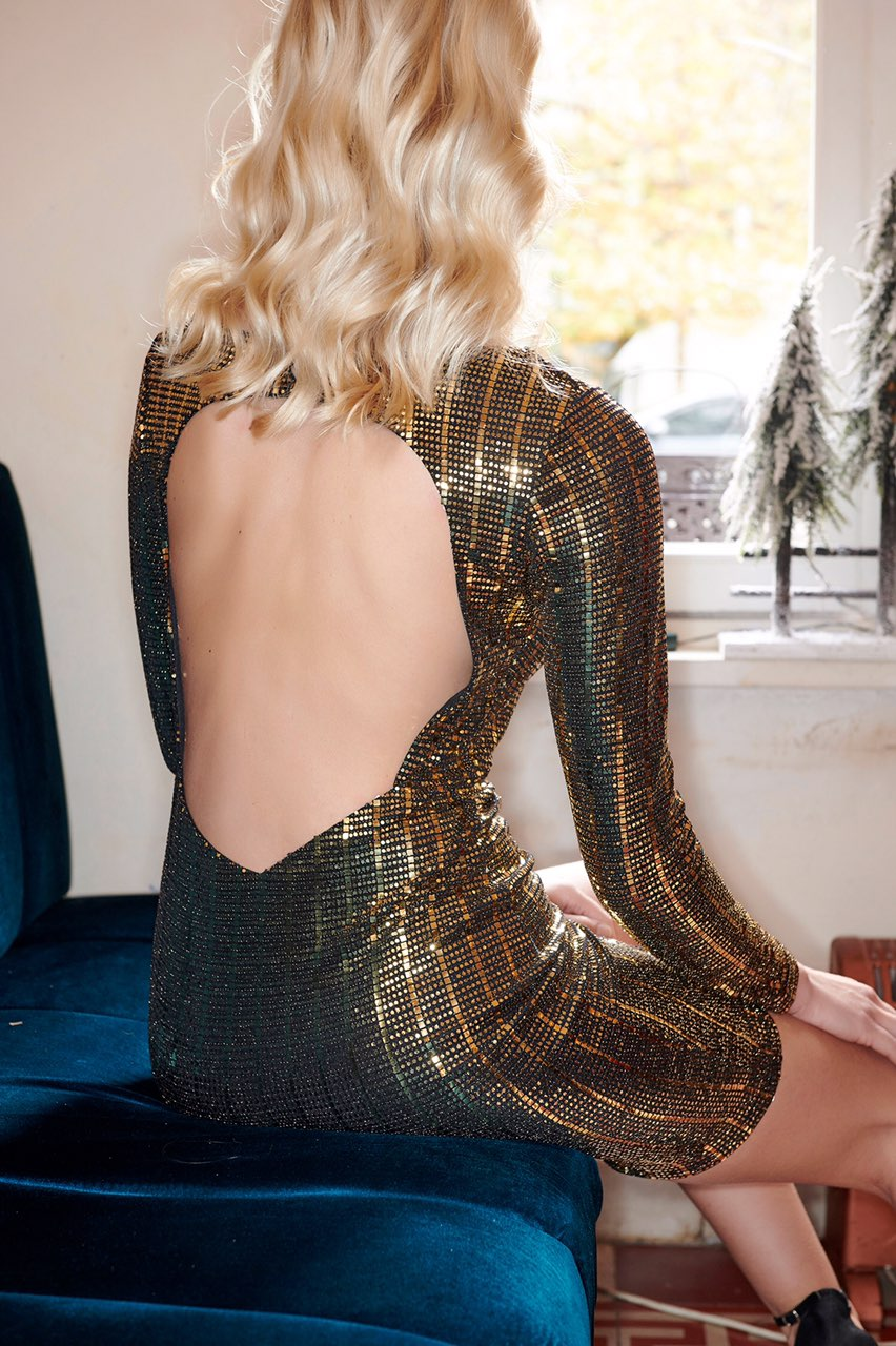 048d432dcb0f Sparkling Bodycon Φόρεμα με ανοιχτή πλάτη
