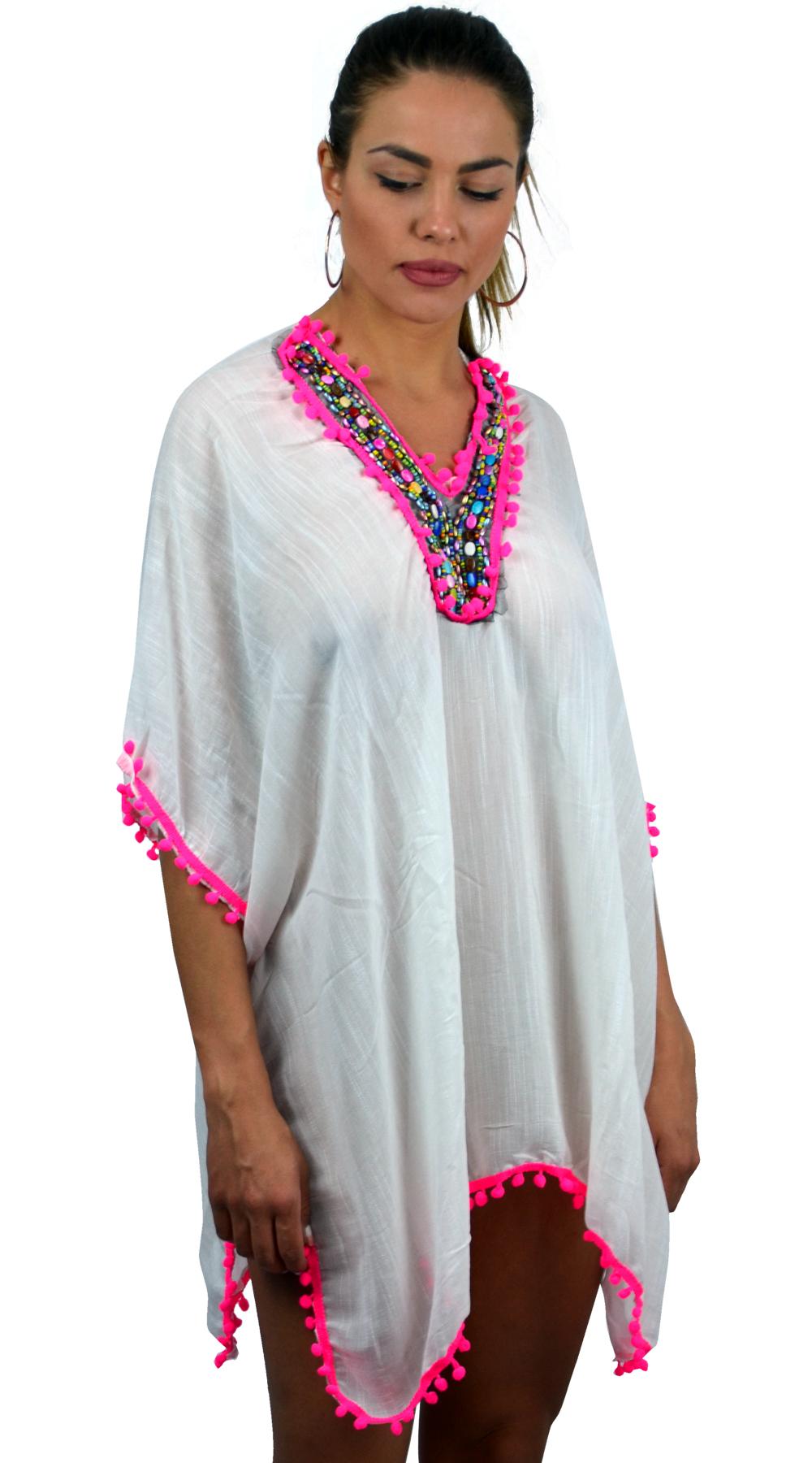 Γυναικείο έθνικ καφτάνι με πολύχρωμα pom poms - OEM - S17SOF-82782 top trends boho style