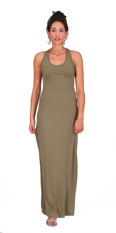 Mάξι φόρεμα με ανοιχτή πλάτη - OEM - SS15-008900-chaki