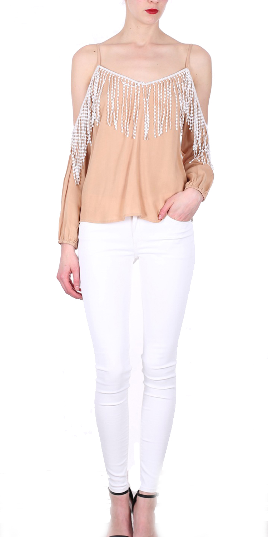 Off shoulder τοπ με κρόσια - OEM - SS16-256952 μπλούζες   t shirts elegant tops