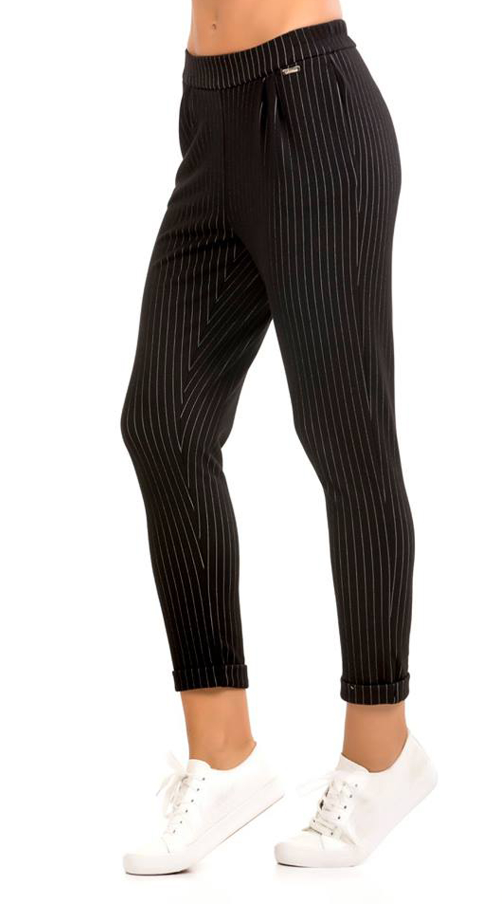 Γυναικείο ριγέ cigarette παντελόνι με τσέπες στο πλάι και λάστιχο στη μέση(shpts top trends basic shop