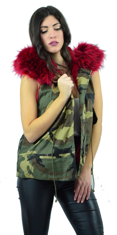 Γυναικείο Military Αμάνικο Μπουφάν με επένδυση Γούνα - MissReina - FA17KZ-47968 πανωφόρια τζάκετς   bomber τζάκετς