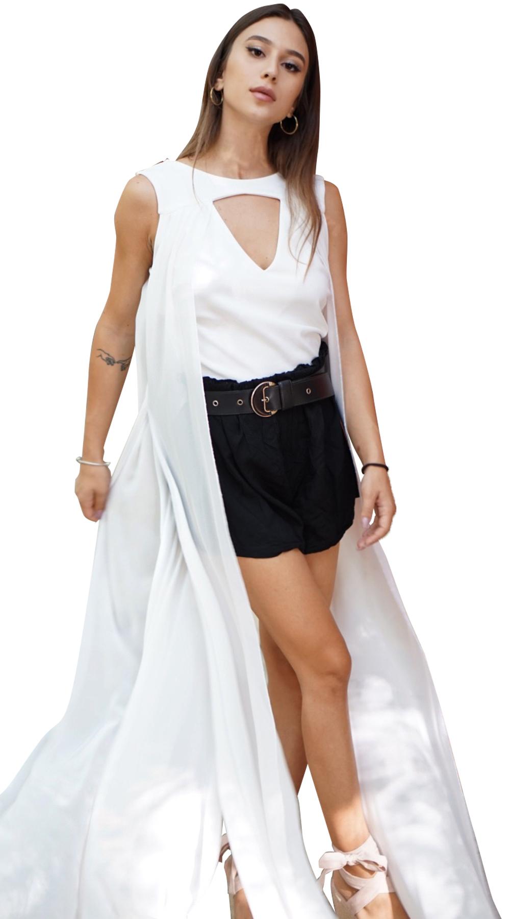 Γυναικείο statement τοπ με μουσελίνα - OEM - FA17LV-404532000 μπλούζες   t shirts elegant tops
