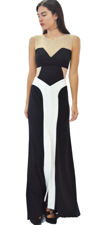 Βραδυνό Μάξι Φόρεμα με Διαφάνεια - OEM - FA17LV-55314543200 φορέματα βραδυνά φορέματα