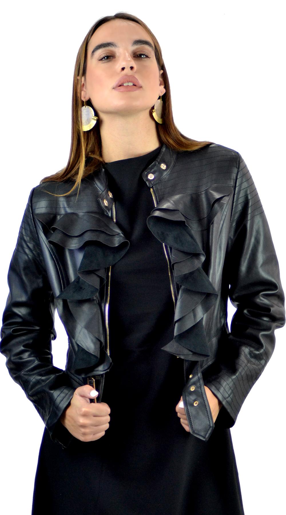 Γυναικείο leatherlook biker με βολάν μπροστά - OEM - FA17MRK-5369871 03291603c15