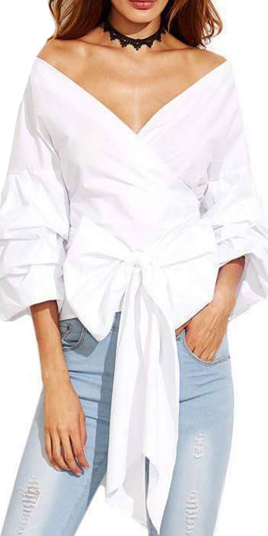 Γυναικείο Πουμάμισο κρουαζέ με Δέσιμο στην μέση - MissReina - FA17MS-10066 μπλούζες   t shirts elegant tops