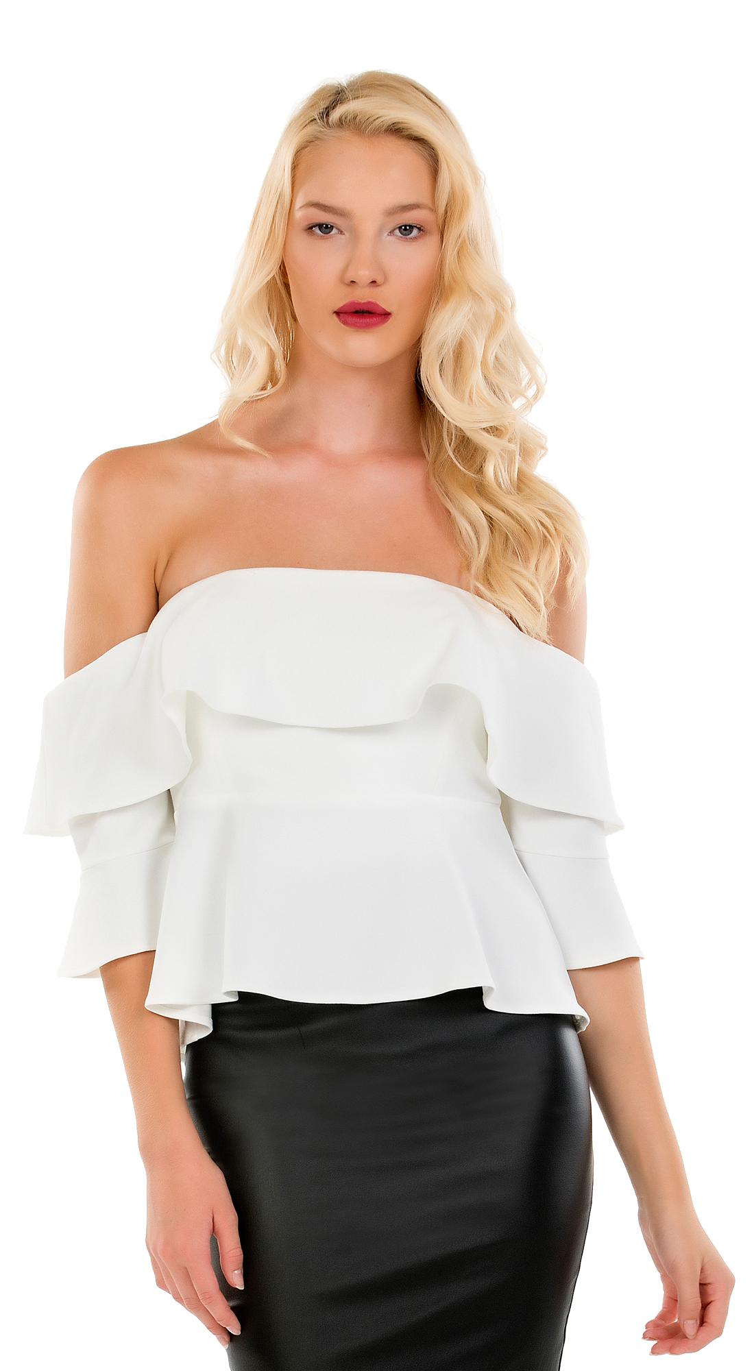 Γυναικεία μπλούζα Online με βολάν στο μπούστο - OEM - FA17ON-14027 top trends cut outs