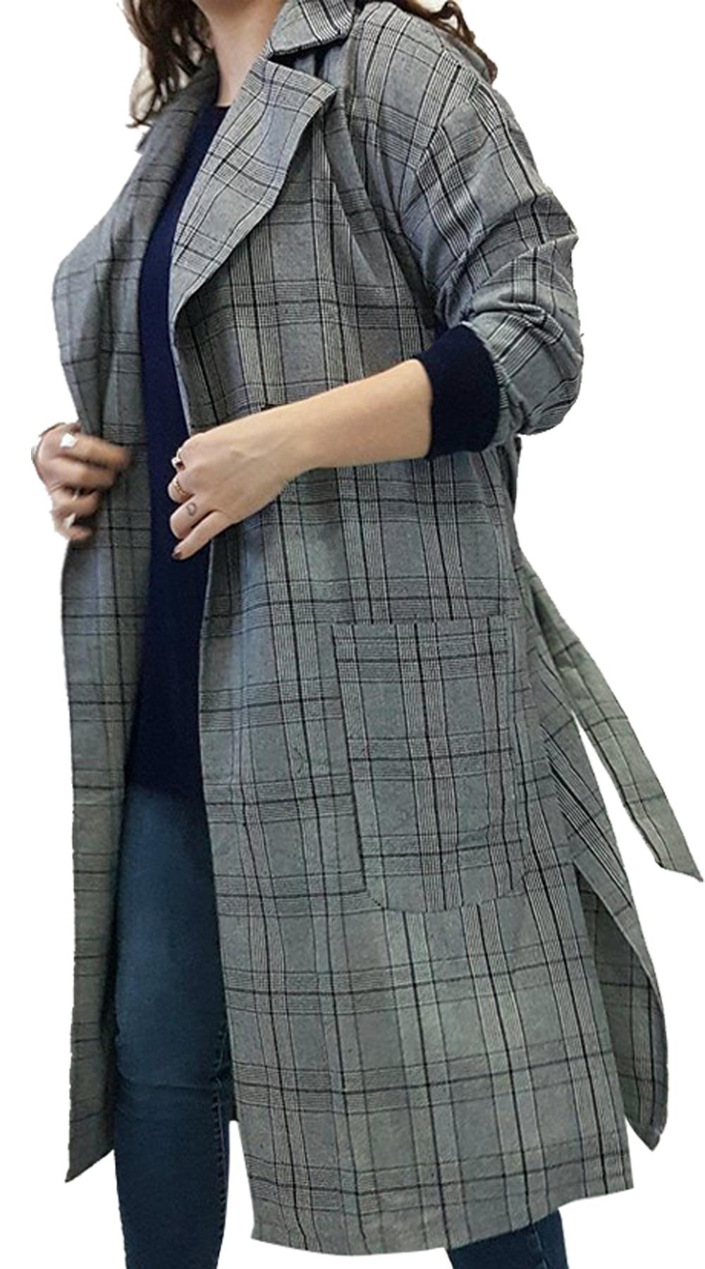 Γυναικεία oversized καρό καπαρντίνα Curvy - MissReina - FA17SOF-488801 top trends basic shop
