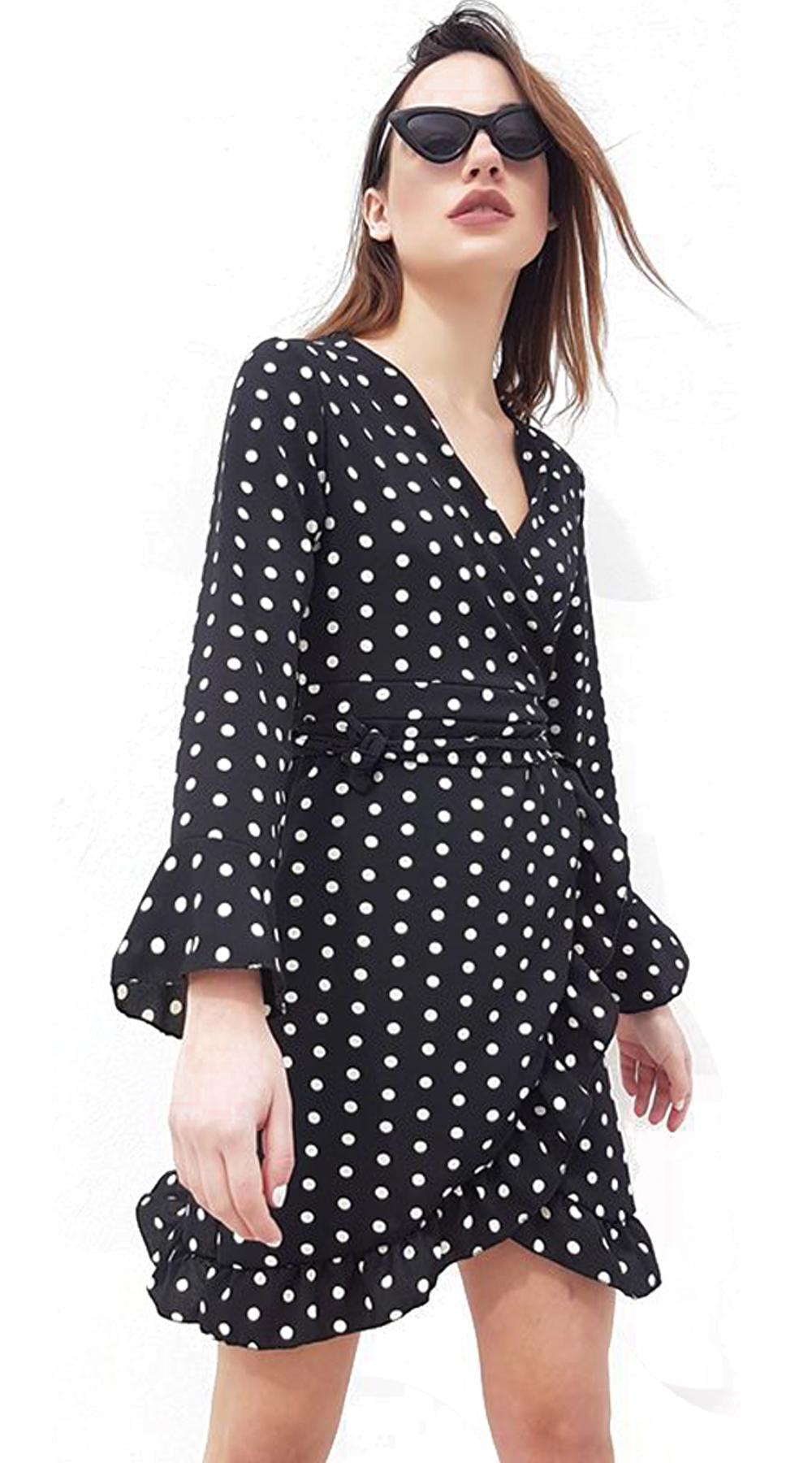 6376031f9707 Μίνι κρουαζέ φόρεμα πουά με ζώνη στην μέση (shprs from 22 9) -