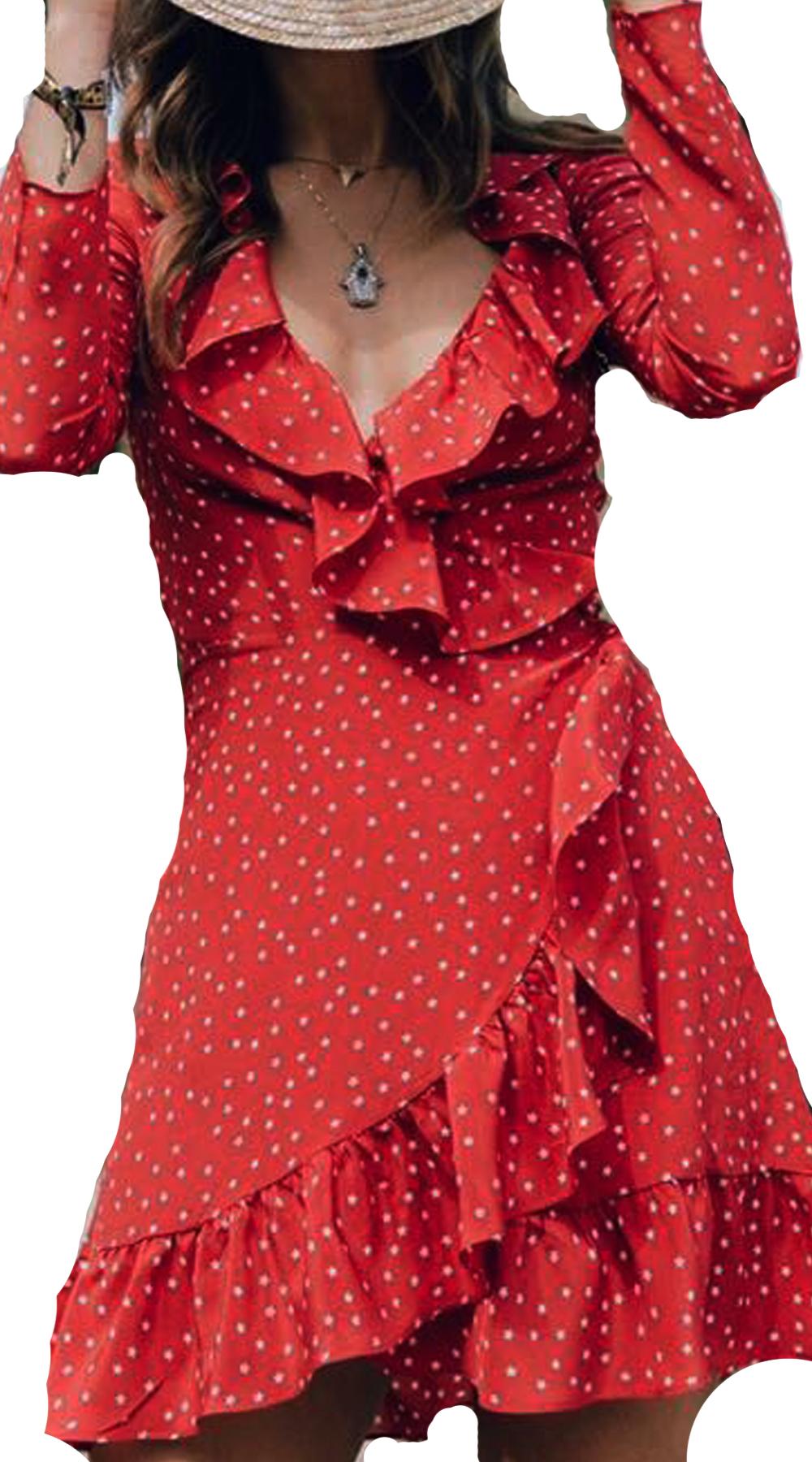 Μίνι κρουαζέ φόρεμα πουά με ζώνη στην μέση - OEM - FA17SOF-536987 φορέματα μίνι φορέματα
