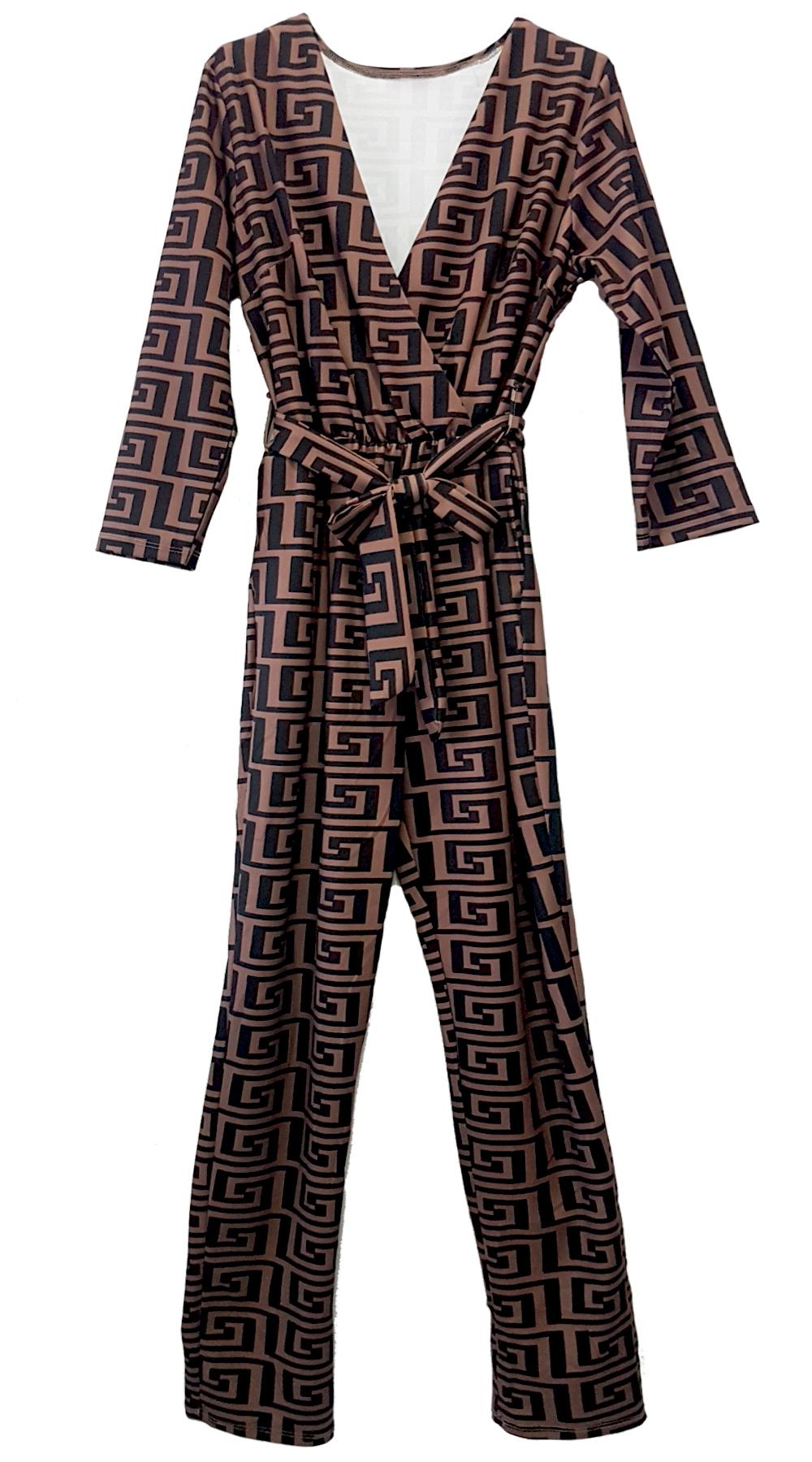 Ολόσωμη φόρμα με Prints & ζώνη - MissReina - FA18GAL-20009 ενδύματα ολόσωμες φόρμες