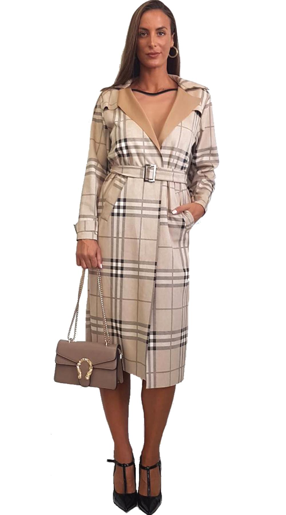 Σουέτ Μάξι Καρό Παλτό - MissReina - FA18GAL-455211 πανωφόρια παλτό