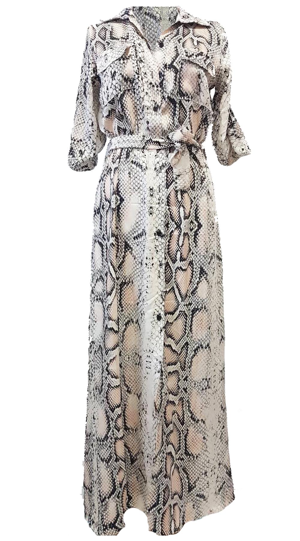 Snake Print Σατινέ Maxi Πουκάμισο-Φόρεμα - MissReina - FA18GAL-50202 animal prints animal prints