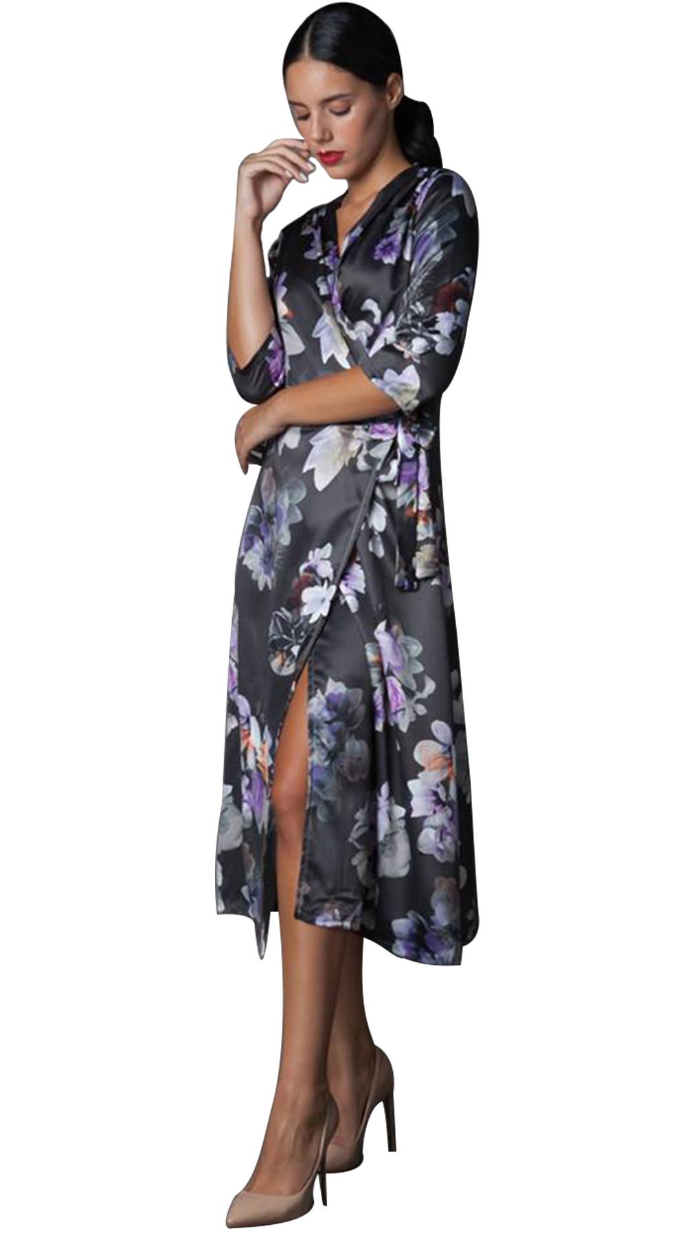 Κρουαζέ Μίντι Φλοράλ Φόρεμα - Greek Brands - FA18NA-55887 φορέματα βραδυνά φορέματα