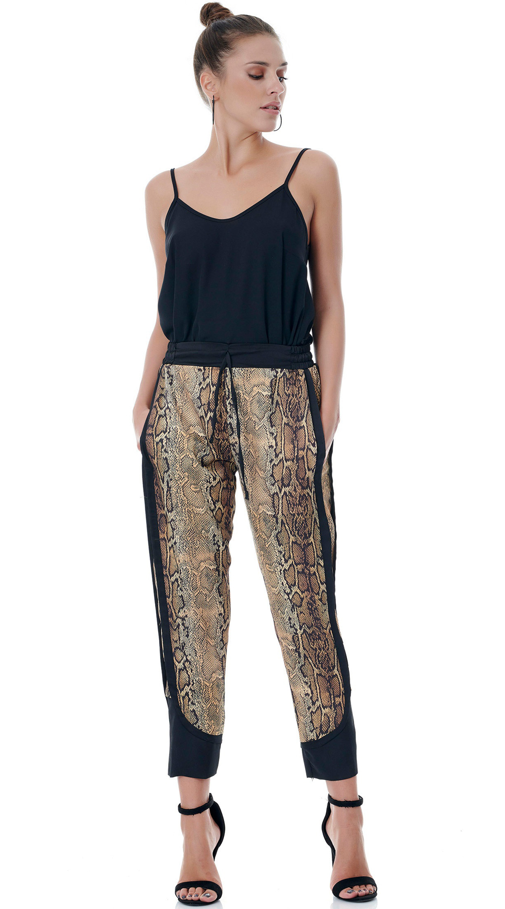 Snake Print Satin Παντελόνι με τσέπες ONLINE - ONLINE - FA18ON-32217 animal prints animal prints