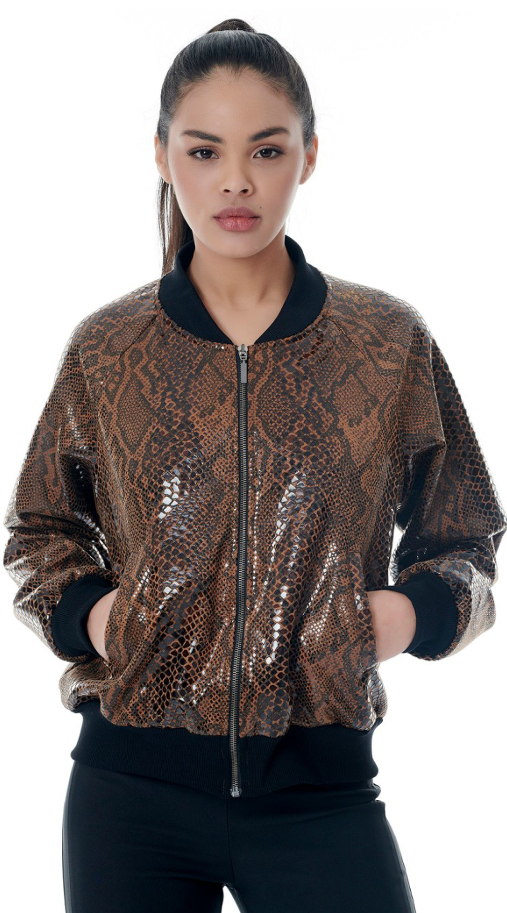 Snake Print Bomper Jacket Φιλμ ONLINE - ONLINE - FA18ON-41185 animal prints animal prints