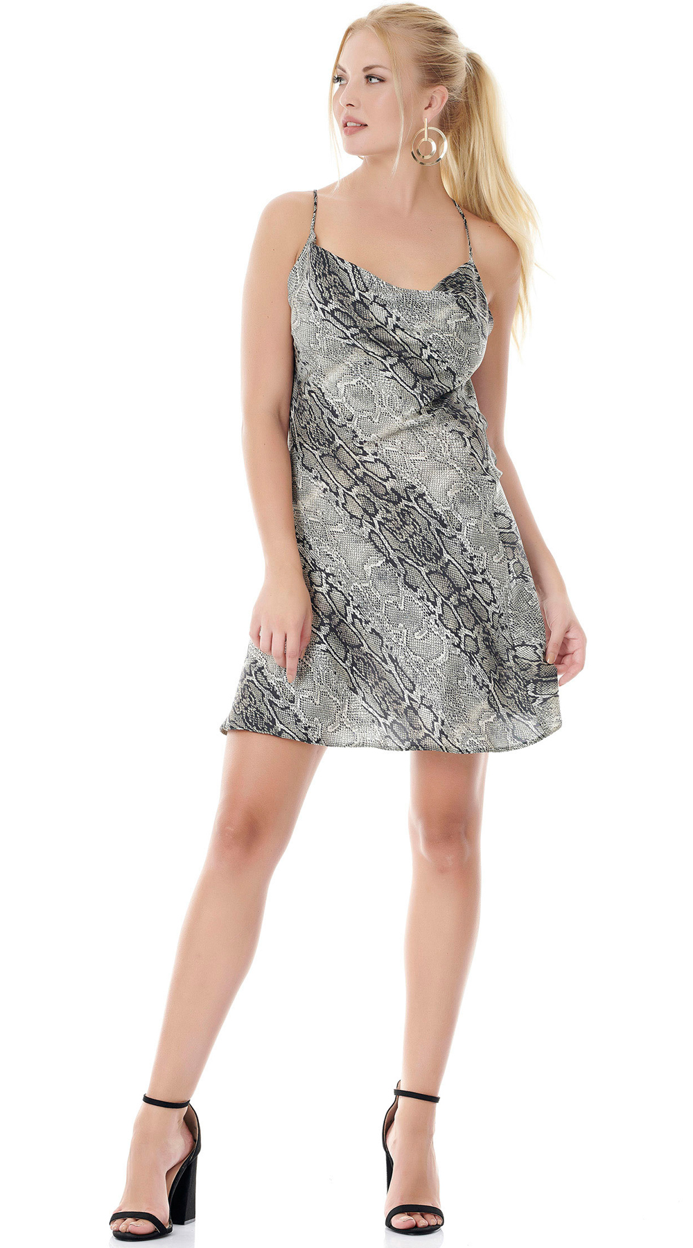 Snake Print Mini Φόρεμα Εξώπλατο ONLINE - ONLINE - FA18ON-56095 animal prints animal prints