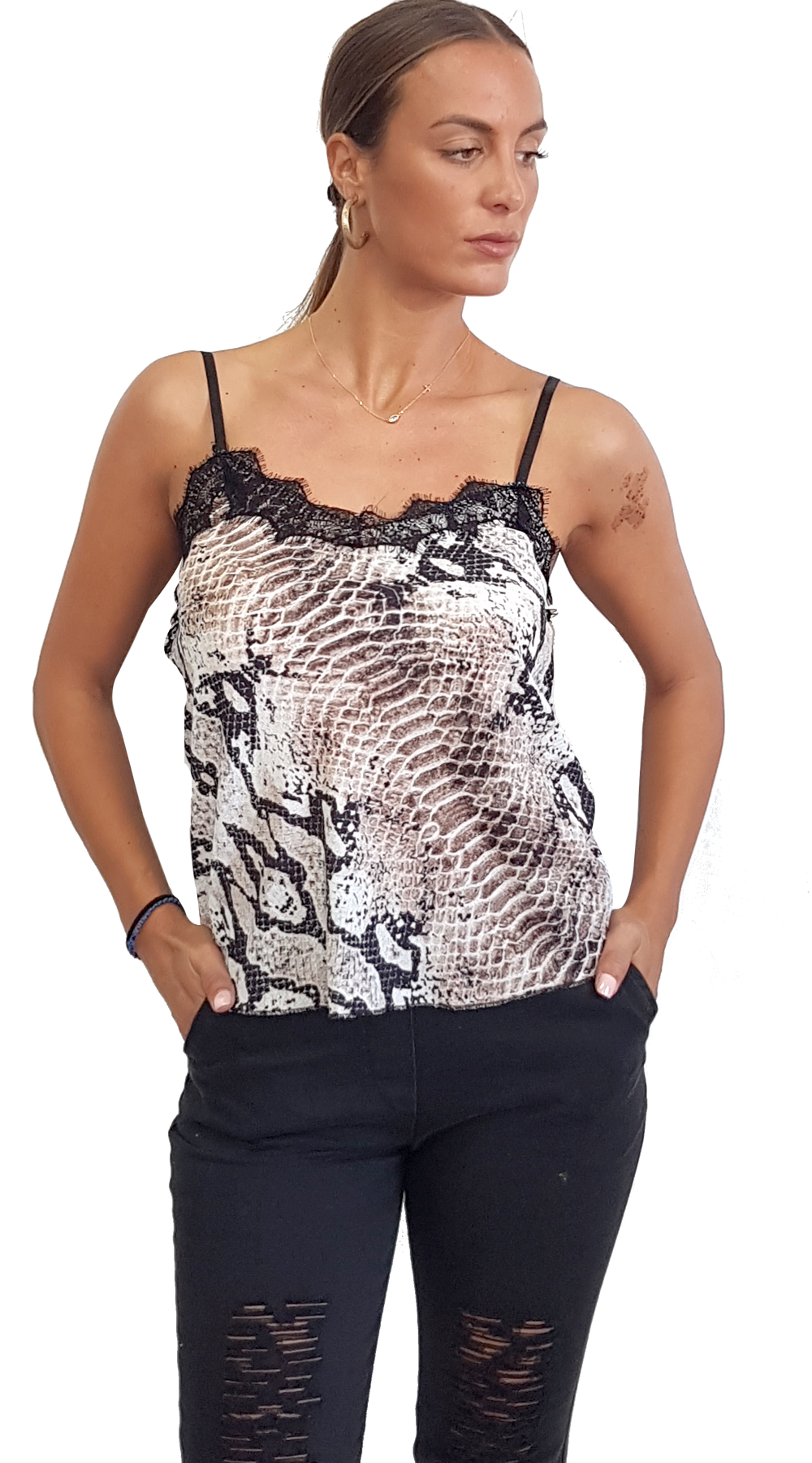 Snake Print Top με Τιράντα & Δαντέλα - MissReina - FA18SOF-10800 animal prints animal prints