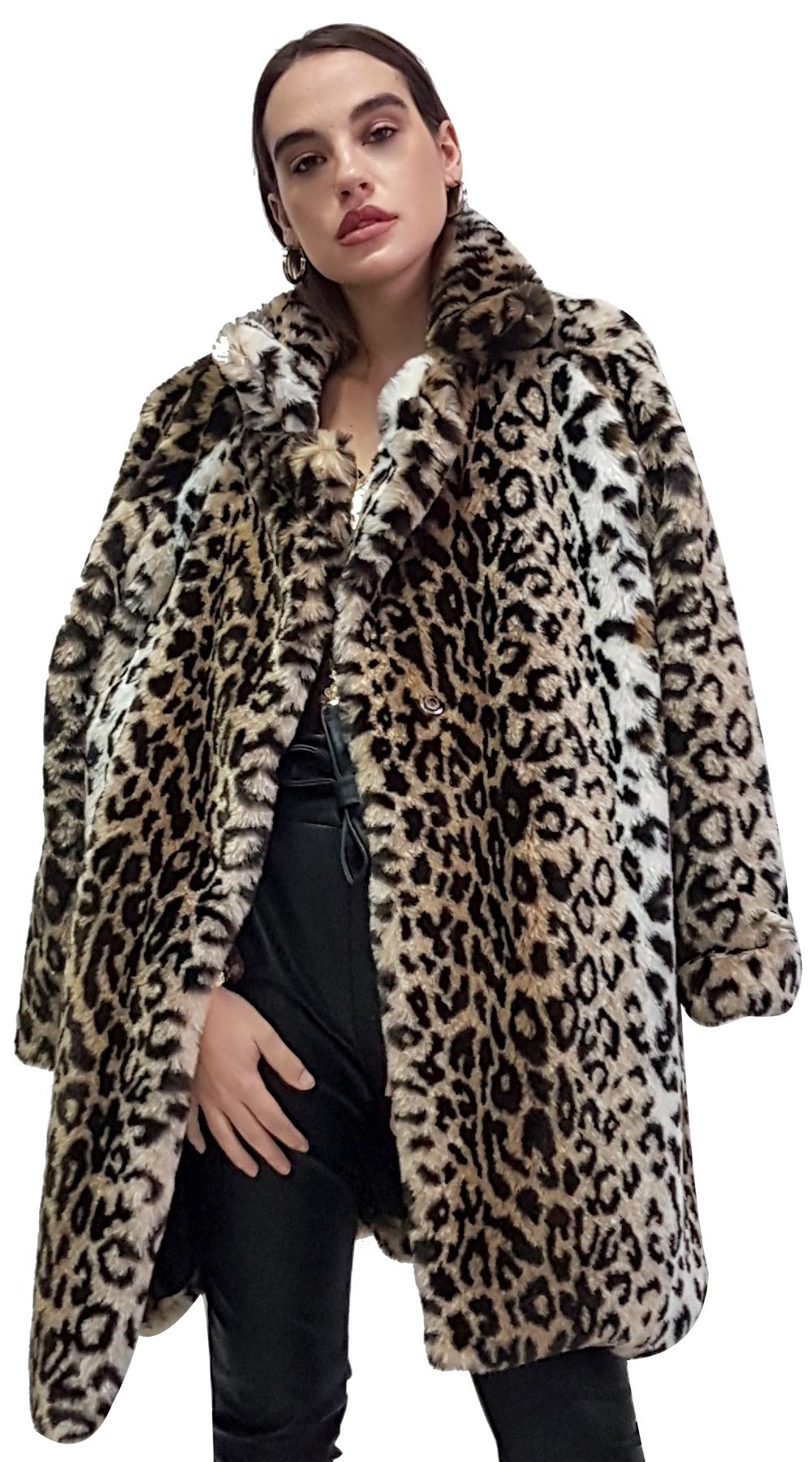 Lux Faux Leopard Γούνα με φόδρα και τσέπες - MissReina - FA18SOF-45220