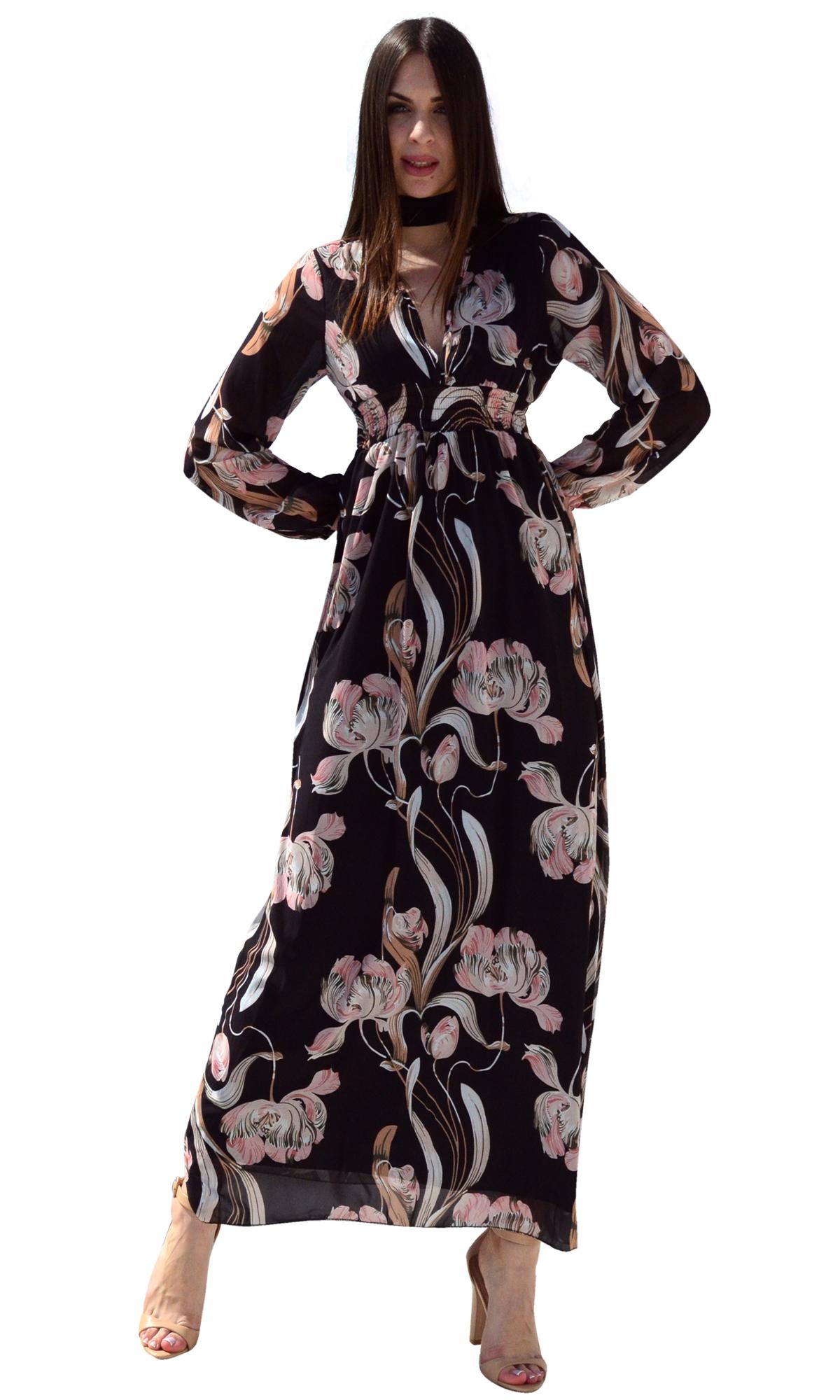 Μάξι φλοράλ φόρεμα με ανοιχτό ντεκολτέ - OEM - SP17AG-587323 φορέματα μάξι φορέματα