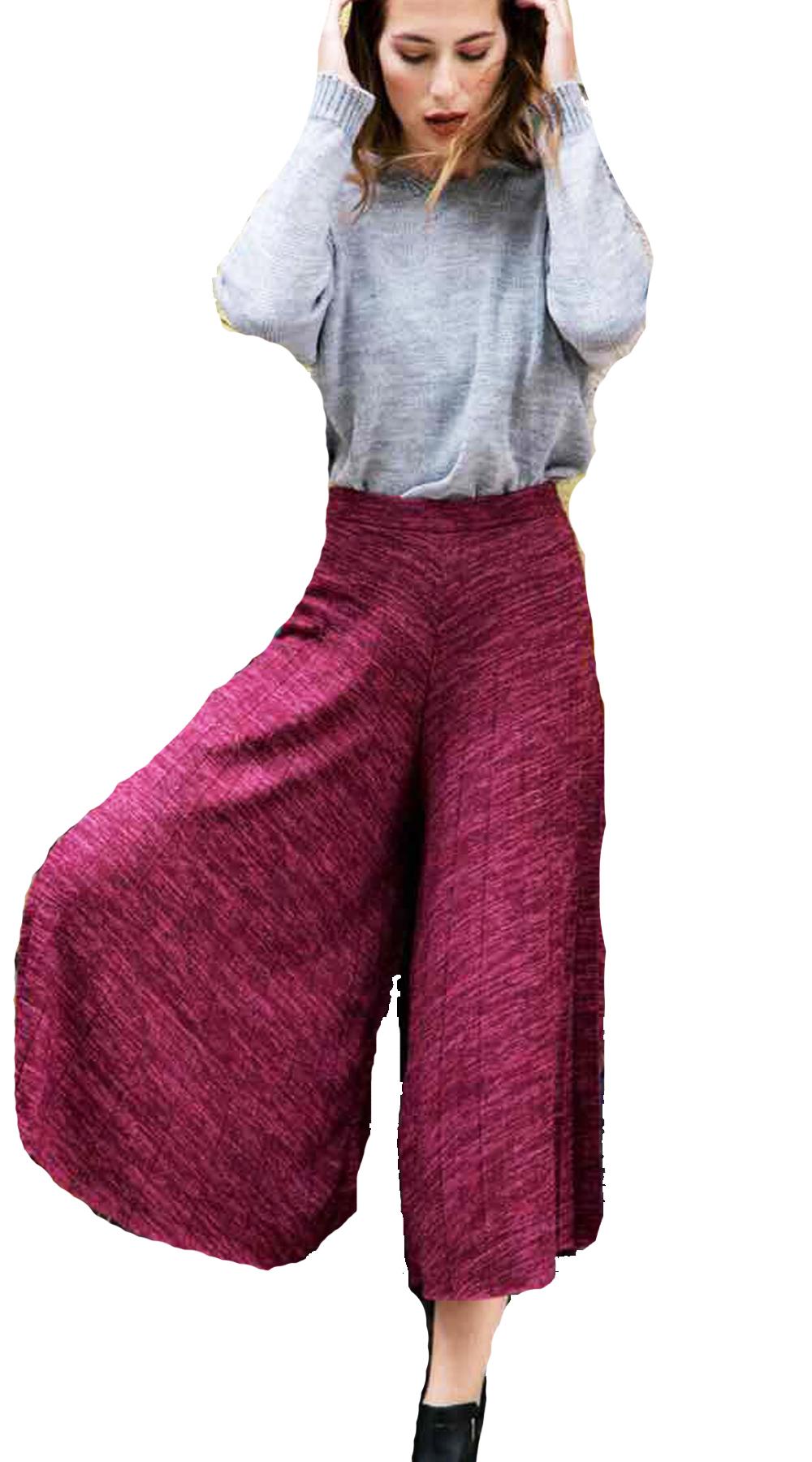 Γυναικείο παντελόνι πλισέ ζιπ κιλότ shinny cherry - OEM - FW17AG-3558528 top trends casual chic