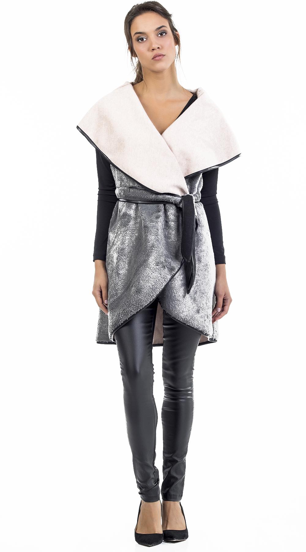 Γυναικείο γούνινο γιλέκο με ζώνη Online - OEM - FW17ON-47016 πανωφόρια ζακέτες