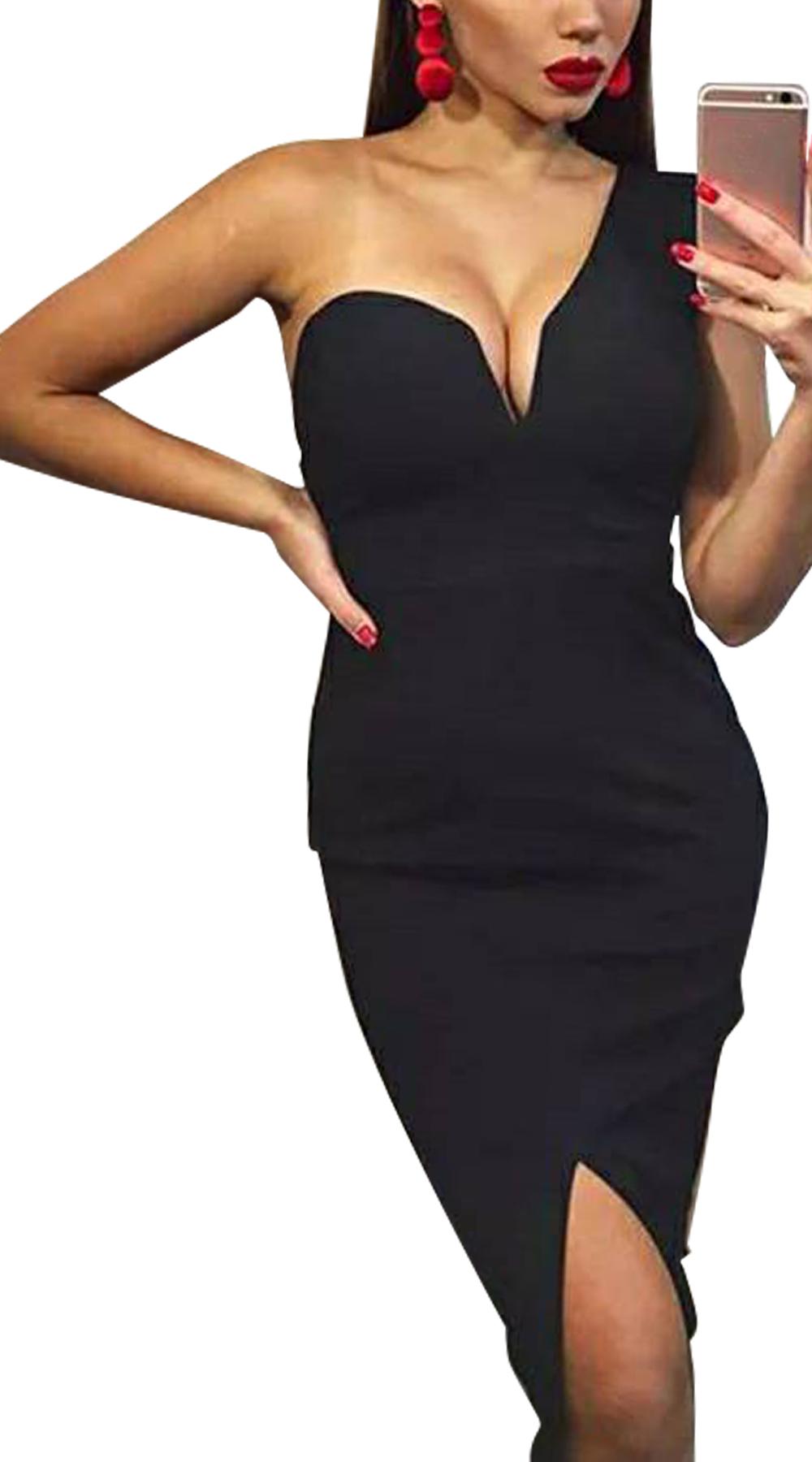 Μίντι φόρεμα bodycon με έναν ώμο και σέξι V Online - ONLINE - FW17ON-582993 φορέματα βραδυνά φορέματα