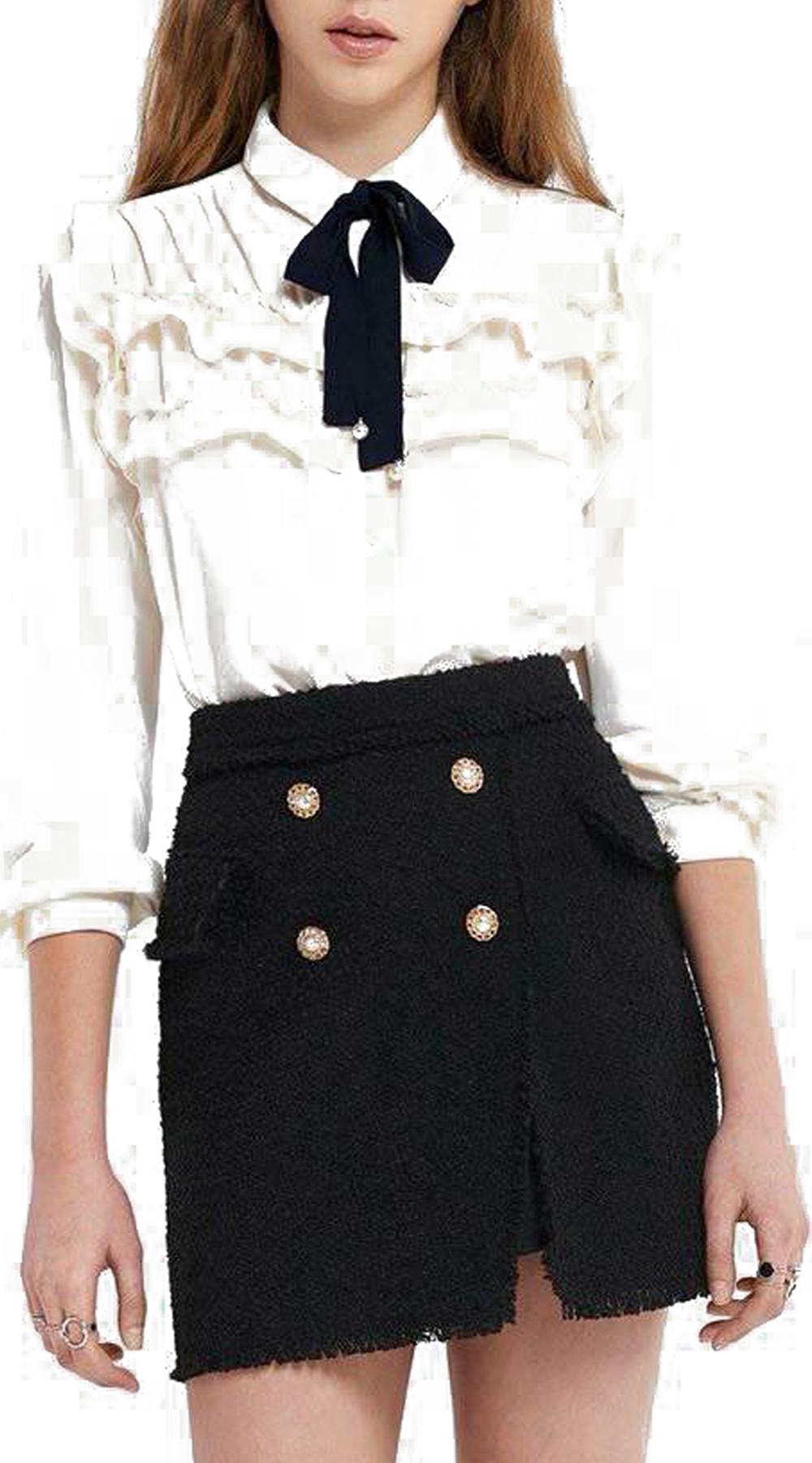 Γυναικείο Victorian chic πουκάμισο με βολάν και κορδέλα στο λαιμό - OEM - FW17SO μπλούζες   t shirts elegant tops