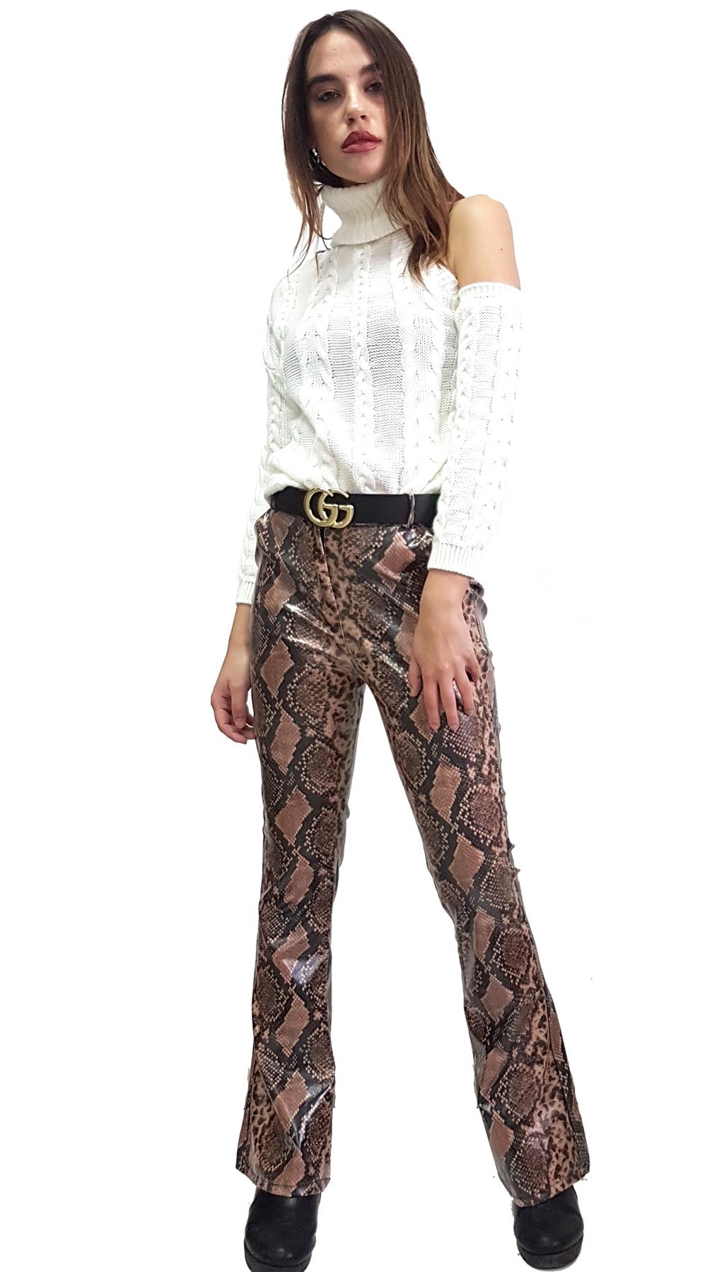 Γυαλιστερή Snake Print Παντελόνα Καμπάνα - MissReina - FW18SOF-39782 animal prints animal prints