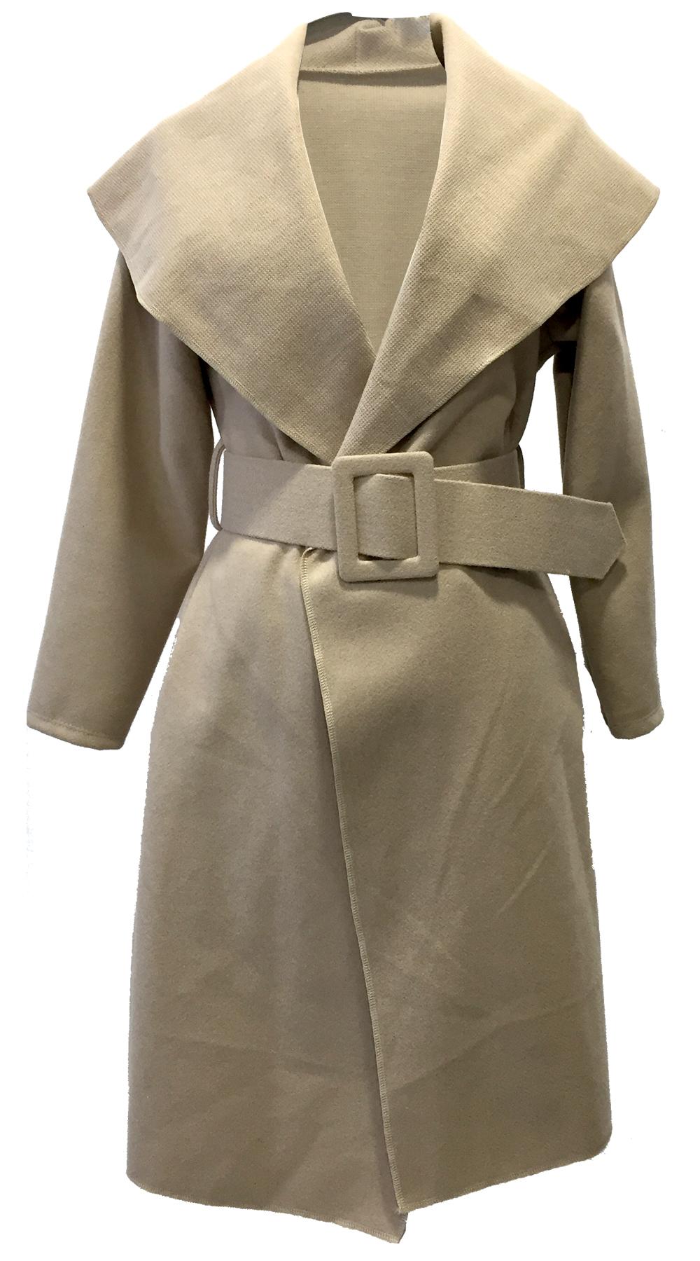 Απαλό Βελούρ Παλτό με Ζώνη - MissReina - FW18SOF-44993 πανωφόρια παλτό