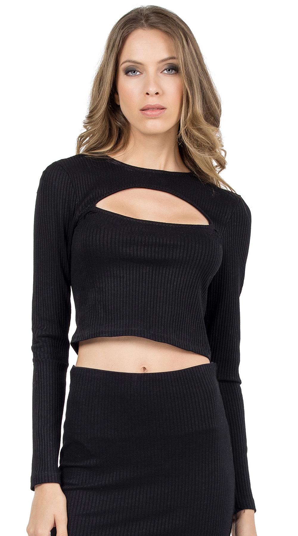 Γυναικείο crop τοπ μακρυμάνικο με cut out στο μπούστο Online - ONLINE - FA17ON-1 μπλούζες   t shirts elegant tops