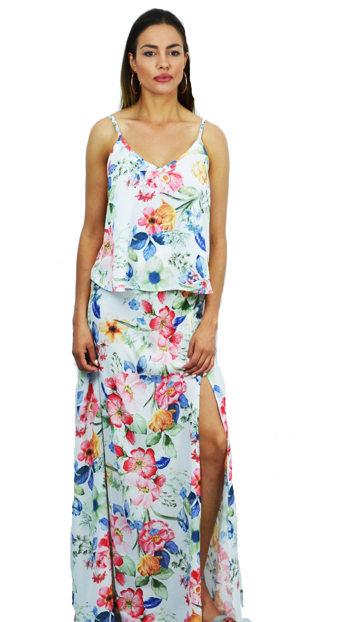 Γυναικείο Σετ Top & Φούστα με εμπριμέ Floral Prints - OEM - S17ON-93177-317791 glam occassions wedding shop