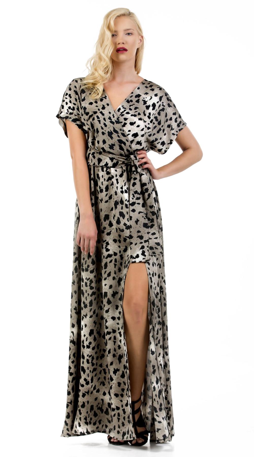 Wrap style φόρεμα με jungle print και σκίσιμο στο πόδι Online - ONLINE - F17ON-5 φορέματα μάξι φορέματα