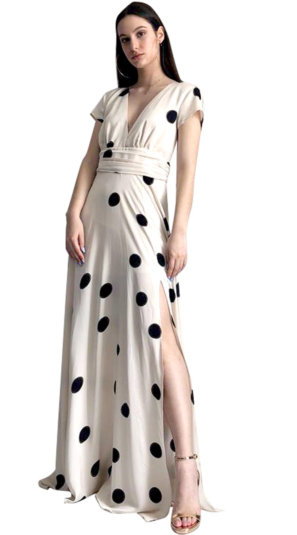Μάξι Φόρεμα Online Πουά με σκίσιμο  9ede4b0909f