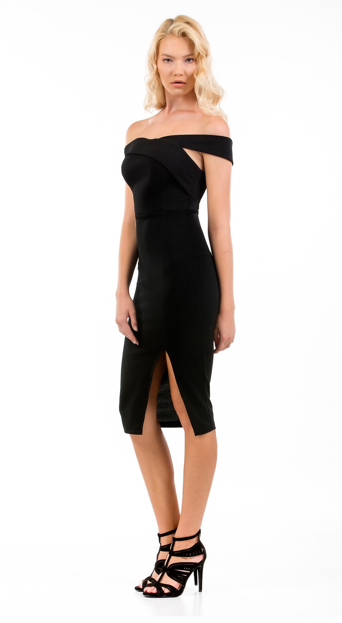 Μίντι Φόρεμα Online με σκίσιμο μπροστά και ελεύθερους ώμους - OEM - FA17ON-54000 φορέματα party φορέματα