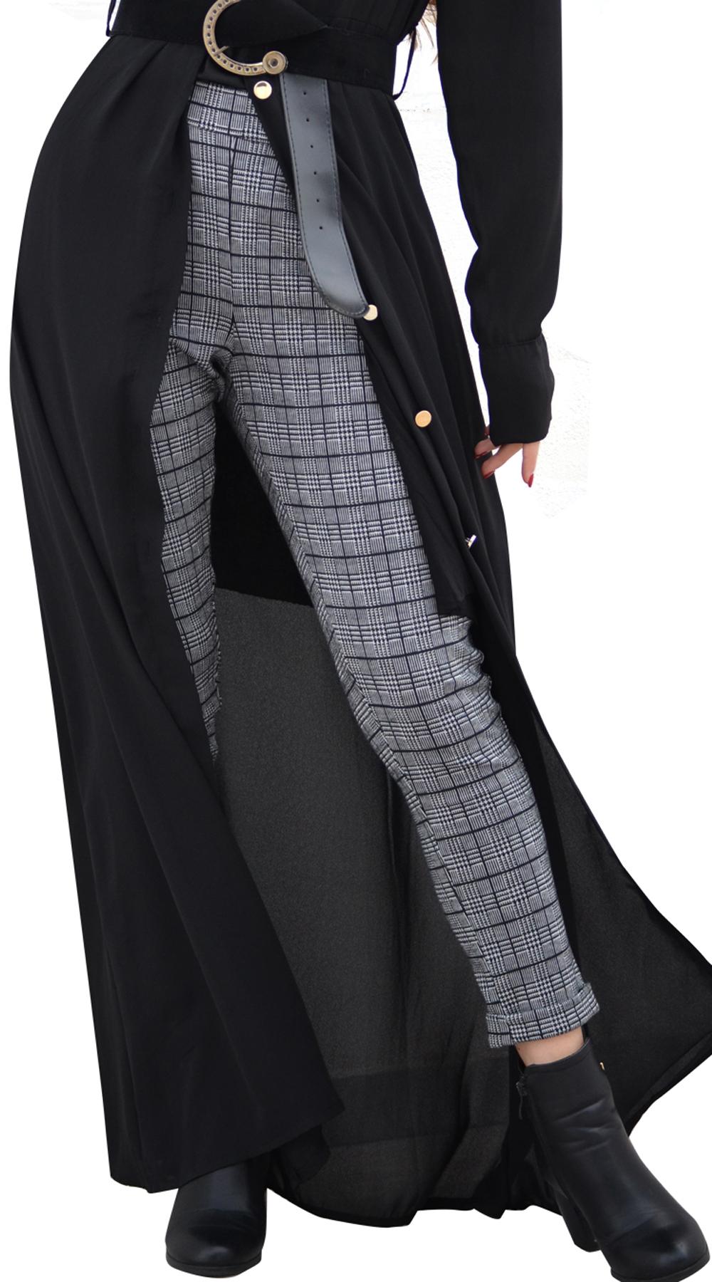 Γυναικείο check cigarette παντελόνι με λάστιχο και τσέπες Online - OEM - FA17ON-