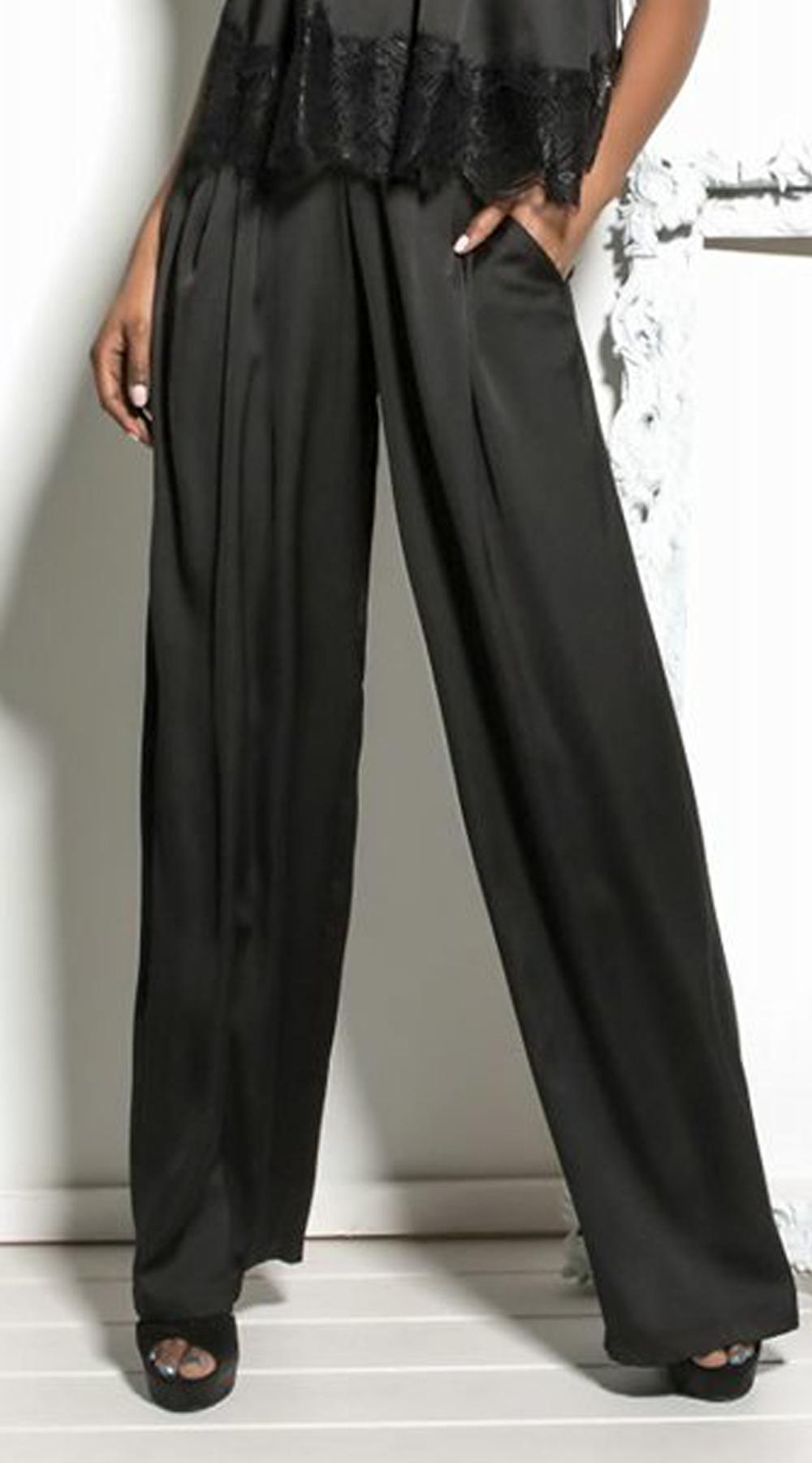 Γυναικεία σατινέ παντελόνα - LOVE ME - FA17LV-40473 top trends office look