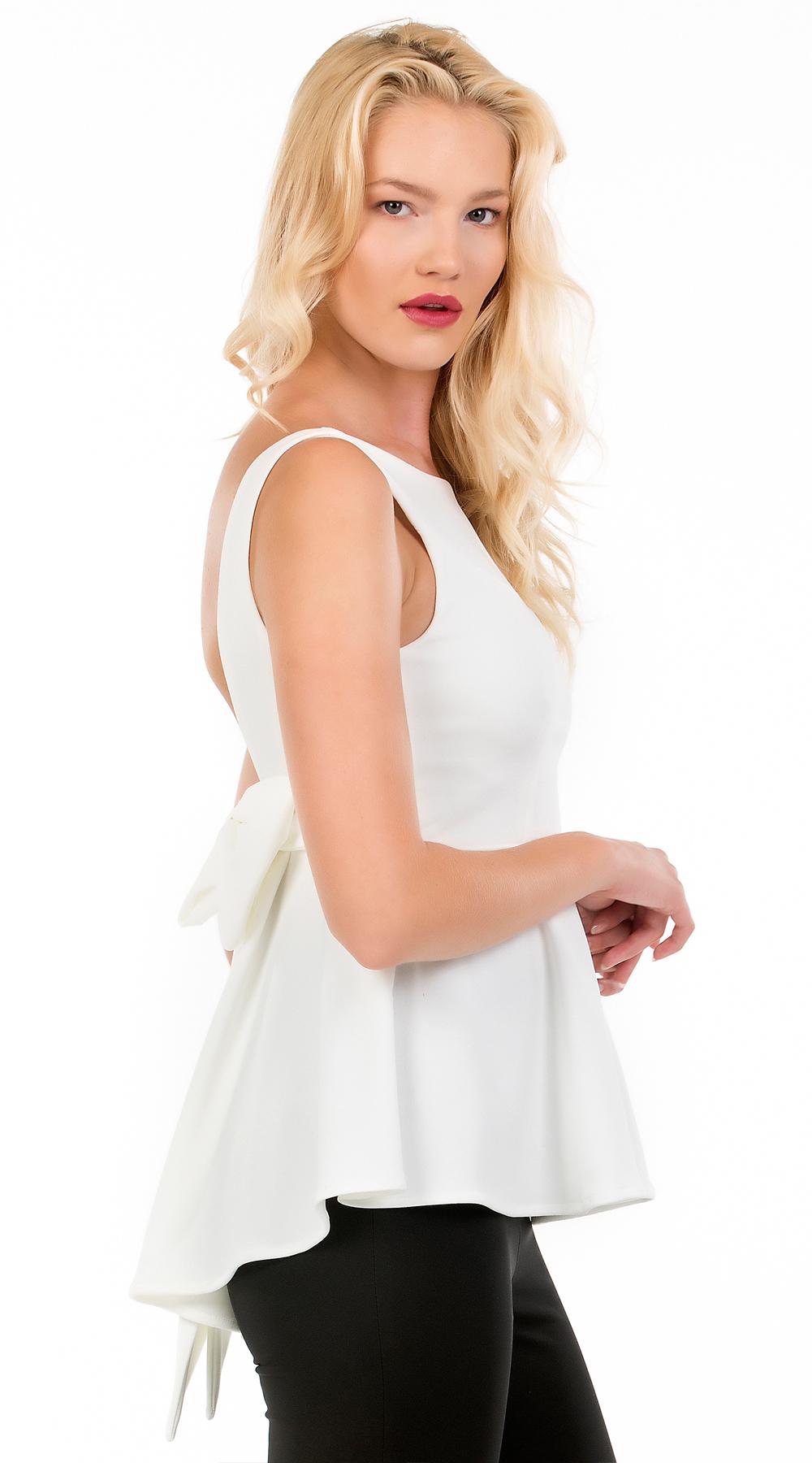 Γυναικεία μπλούζα εξώπλατη με φιόγκο και βολάν στο τελείωμα Online - ONLINE - FA μπλούζες   t shirts elegant tops
