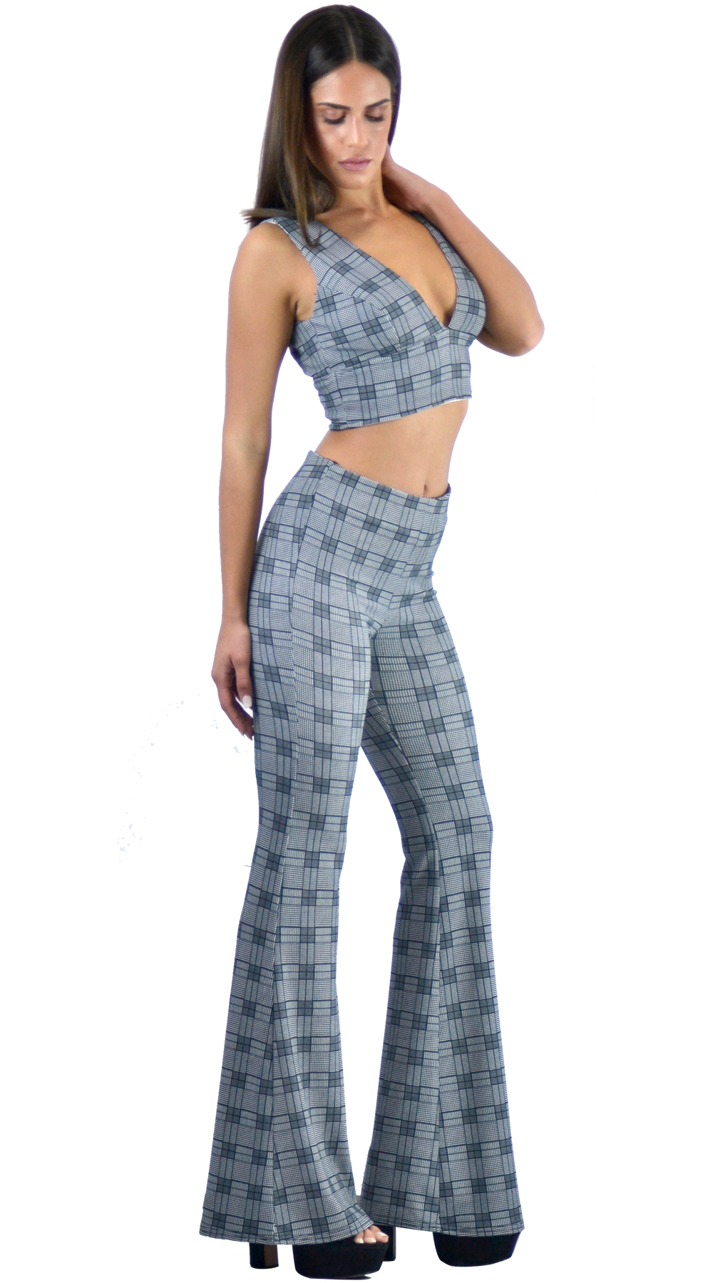 Σετ γυναικείο καρό τοπ και παντελόνι καμπάνα back to 70s Online - ONLINE - FA17O μπλούζες   t shirts elegant tops